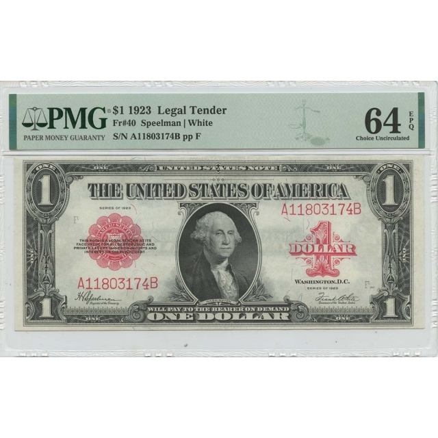 1923 $1 Legal Tender Small Red Scalloped Fr# 40 PMG 64 EPQ