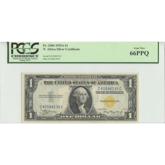 1935A $1 North Africa PCGS 66 GEM NEW PPQ FR#2306 CC Block
