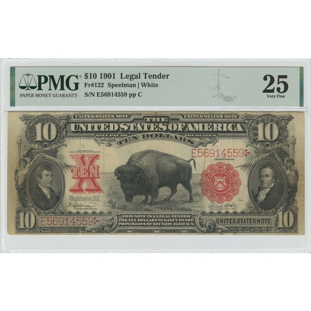 1901 $10 Legal Tender Small Red Scalloped Bison Fr# 122 PMG VF25