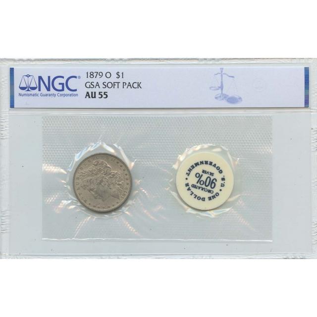 1879-O Morgan Dollar GSA SOFT PACK S$1 NGC AU55