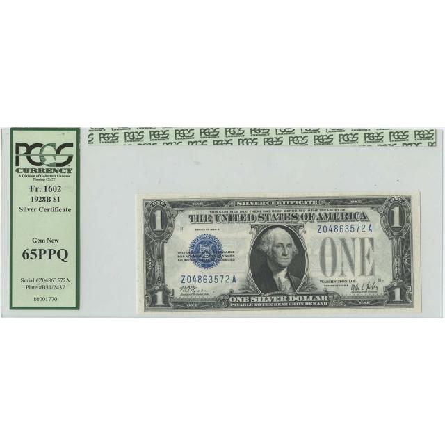 1928B $1 Silver Cert FR#1602 PCGS Gem 65 New PPQ