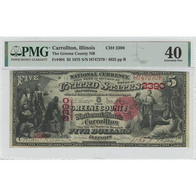 1875 $5 National Currency Carrollton IL PMG XF40 FR#404