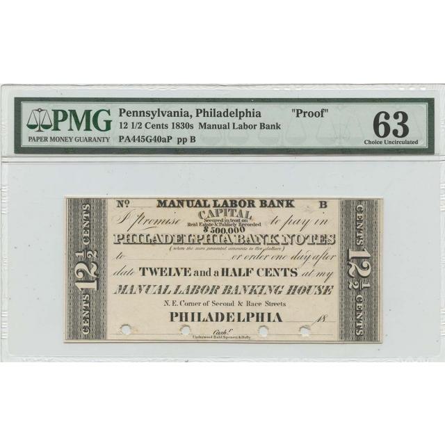 "1830s 12 1/2 Cents Pennsylvania Philadelphia ""Proof"" Cents PMG CH Unc 63"