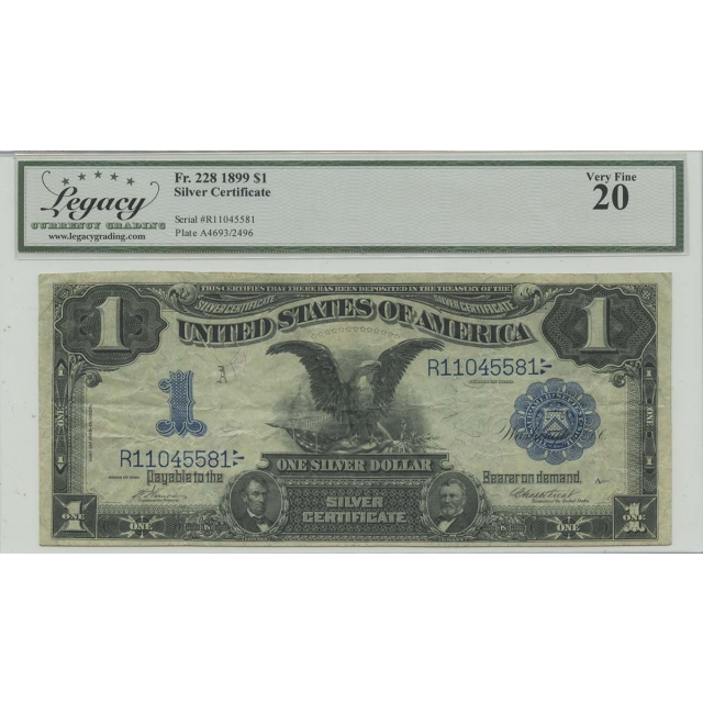 1899 $1 Silver Certificate FR#228 Legacy Currency Graders VF20