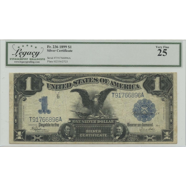 1899 $1 Silver Certificate FR#236 Legacy Currency Very Fine 25