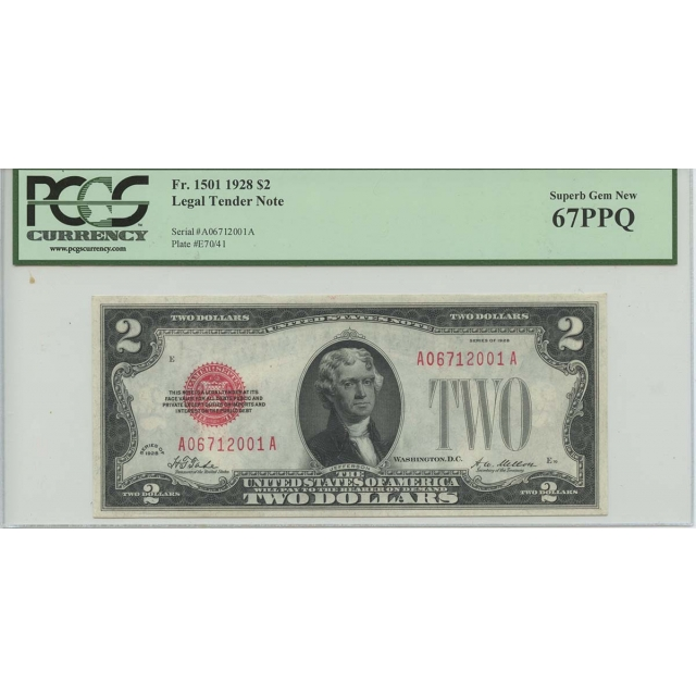 1928 $2 Legal Tender FR#1501 PCGS 67 PPQ Superb Gem