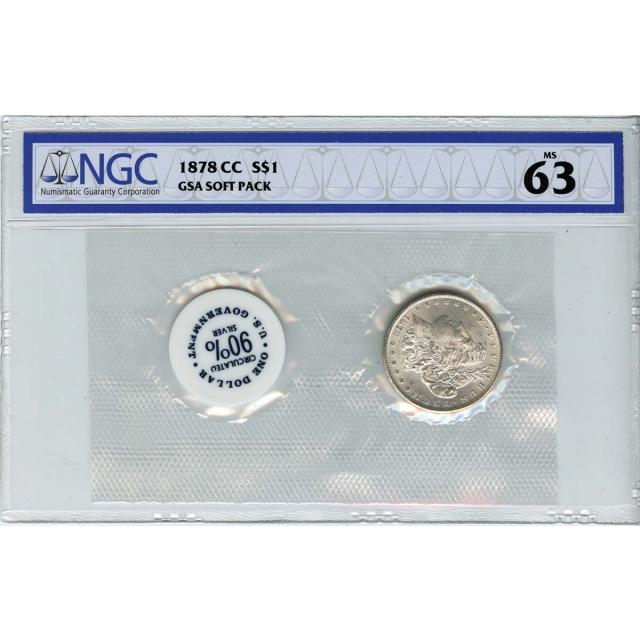 1878-CC Morgan Dollar GSA SOFT PACK S$1 NGC MS63