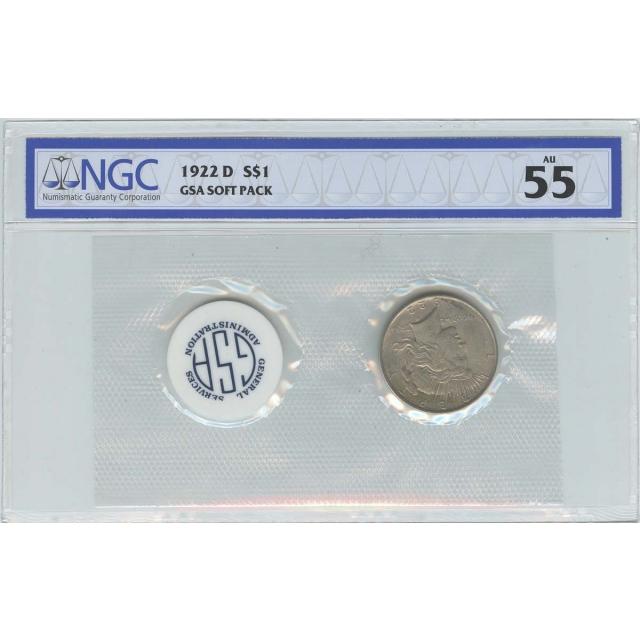 1922 D Peace Dollar GSA SOFT PACK S$1 NGC AU55 Top Pop
