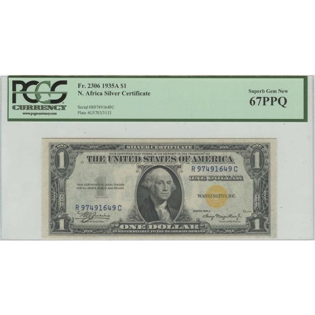 1935A $1 N.Africa PCGS 67 Superb GEM NEW PPQ FR#2306 RC Block
