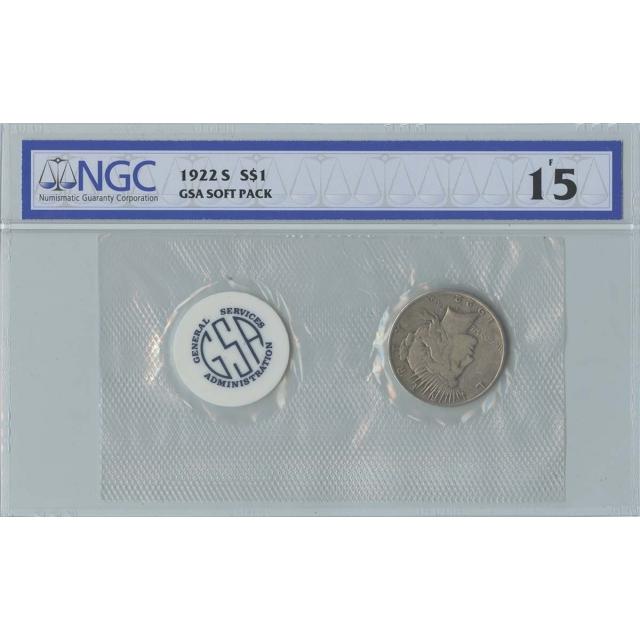 1922-S Peace Dollar GSA SOFT PACK S$1 NGC F15