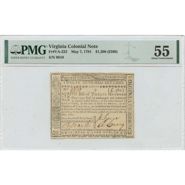 $1200 (£360) Virginia Colonial May 7 1781 VA-223 PMG AU55