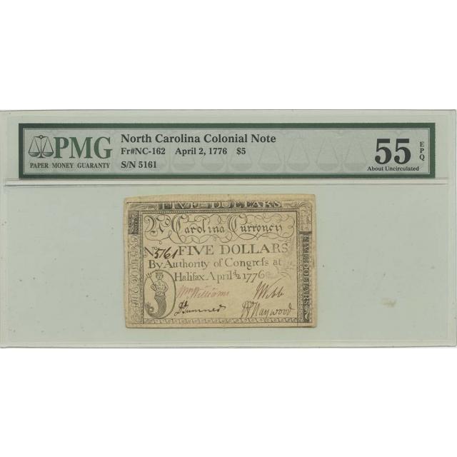 1776 April 2 $5 North Carolina Colonial NC-162 PMG AU55 EPQ