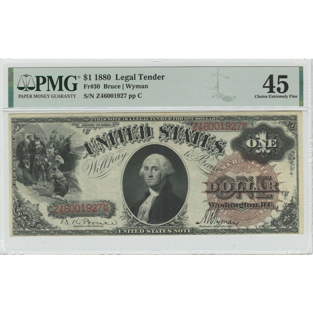 1880 $1 Legal Tender Large Brown w/ Spikes Fr# 30 PMG XF45
