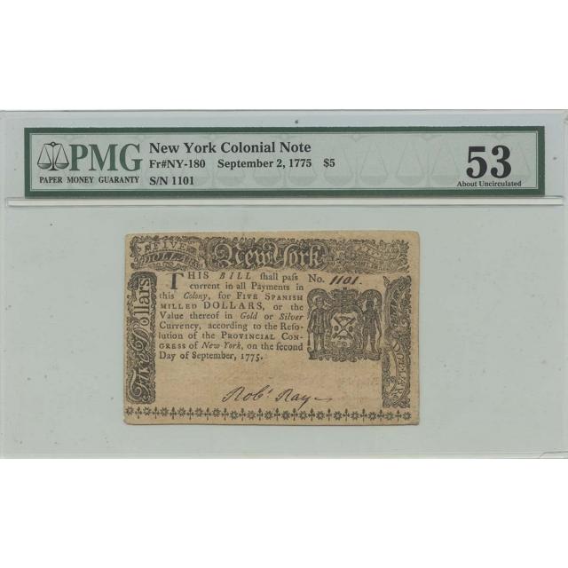1775 September 2 $5 New York Colonial Note NY-180 PMG AU53