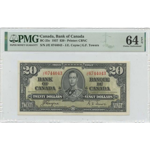 1937 $20 Bank of Canada Pick# CADBC-25c PMG CH64 EPQ
