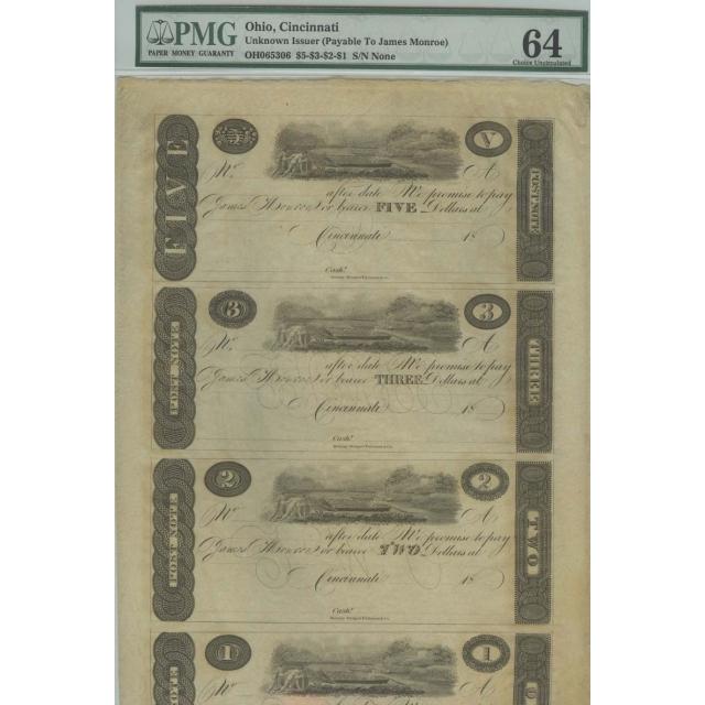 "Cincinnati $5-$3-$2-$1 18__ Uncut Sheet ""James Monroe Obsolete Notes PMG 64"