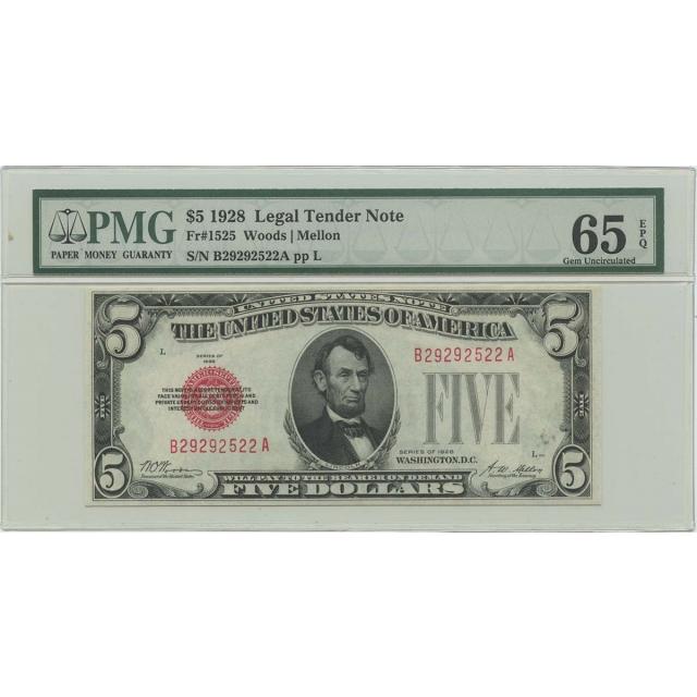 1928 $5 Legal Tender FR#1525 PMG 65 Gem UNC EPQ
