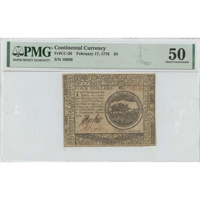 February 17 1776 $4 Continental Currency CC-26 PMG AU50