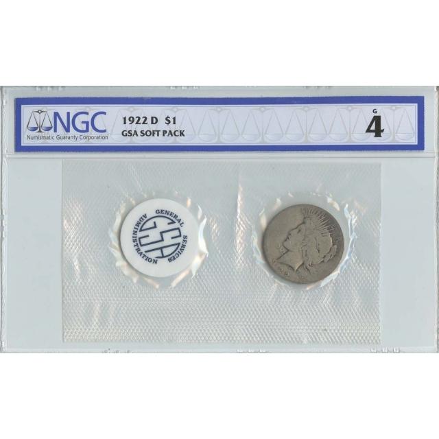 1922 D Peace Dollar GSA SOFT PACK S$1 NGC G4