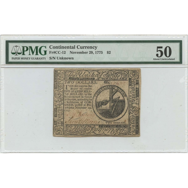November 29 1775 $2 Continental Currency CC-12 PMG 50