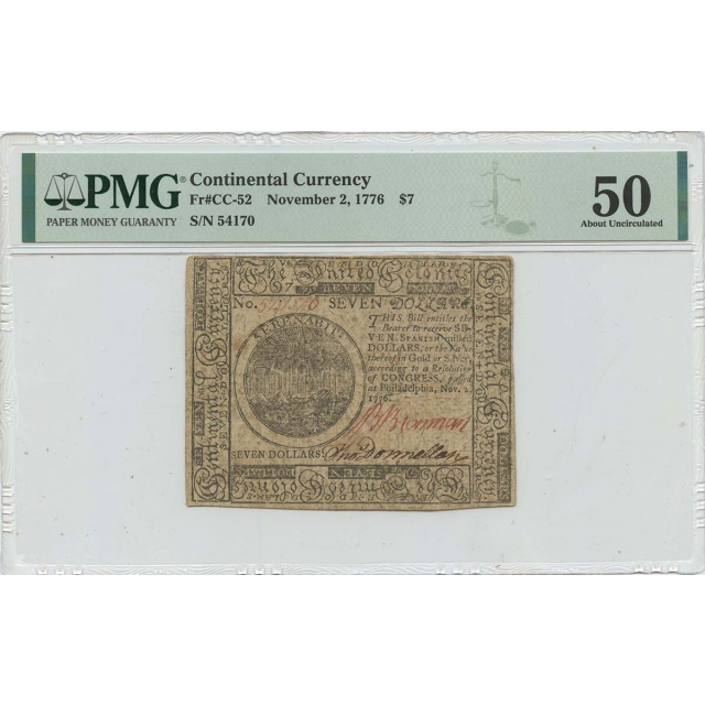 November 2 $7 Continental Currency 1776 CC-52 PMG 50