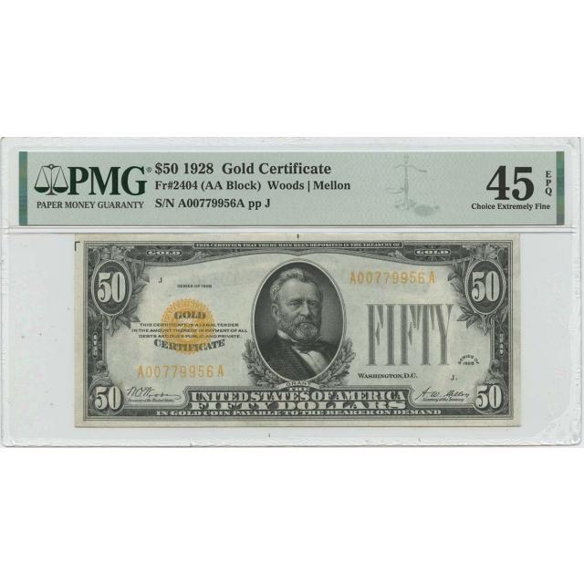1928 $50 Gold Certificate Gold Woods Mellon Fr# 2404 PMG 45 EPQ