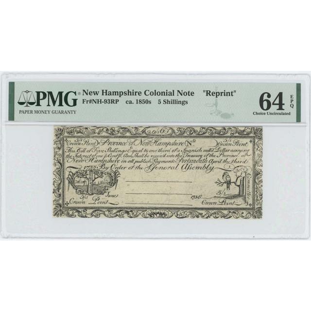 1755/6 New Hampshire 5 Shilling NH-93 PMG CU64 EPQ c. 1850 Cohen Reprint