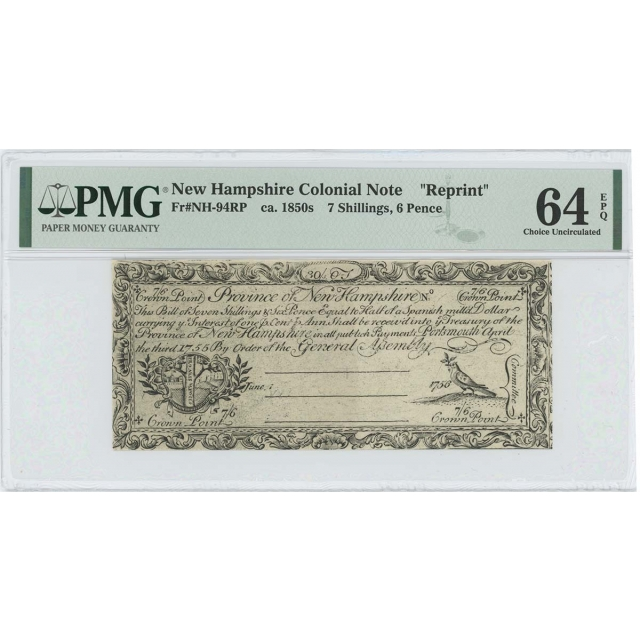 1755/6 New Hampshire 7 Sh 6 Pence NH-94 PMG CU64 EPQ c. 1850 Cohen Reprint