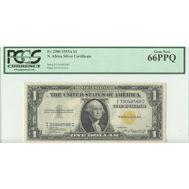 1935A $1 North Africa PCGS 66 GEM NEW PPQ FR#2306 IC Block