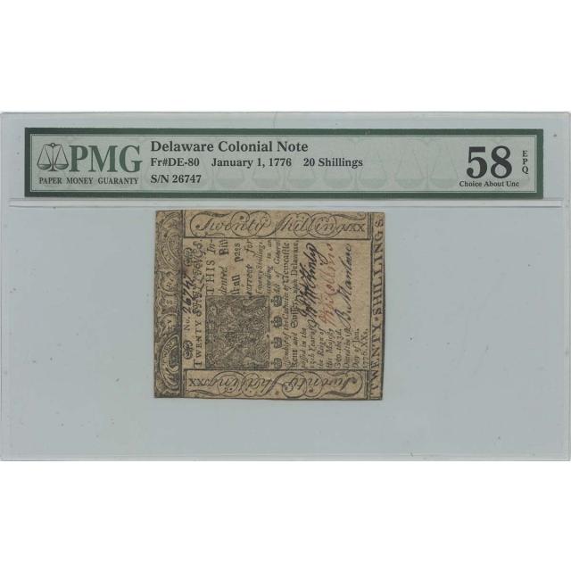 1776 January 1 20 Shillings Delaware Colonial Note DE-80 PMG CH AU58 EPQ