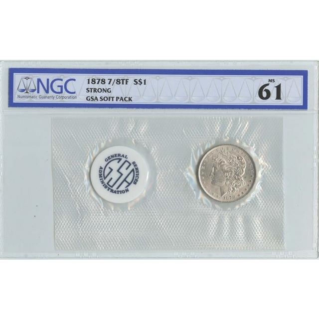 1878 7/8TF STRONG Morgan Dollar GSA SOFT PACK S$1 NGC MS61