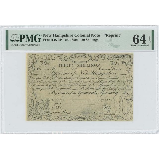 1755/6 New Hampshire 30 Shilling NH-97 PMG CU 64 EPQ c. 1850 Cohen Reprint