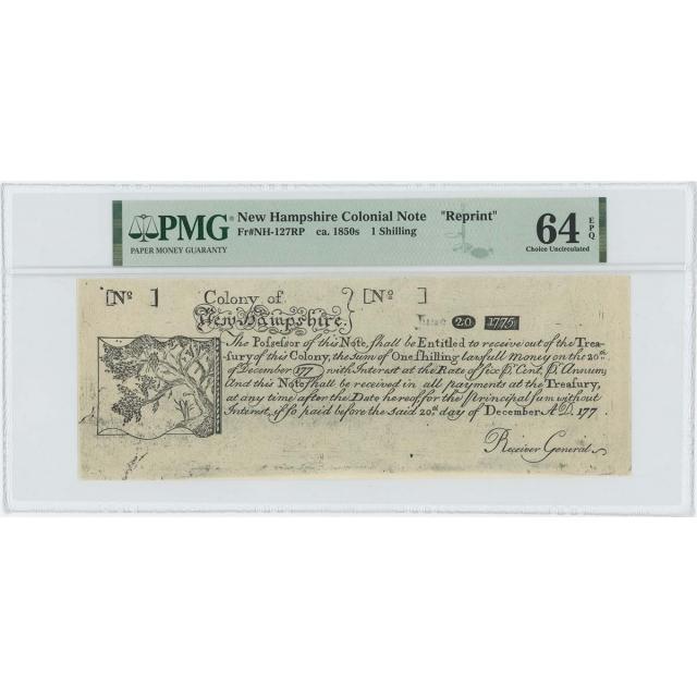 1775 New Hampshire 1 Shilling NH-127 PMG CU 64 EPQ c.1850 Cohen Paul Revere