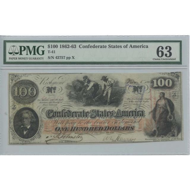 1862-63 $100 Confederate PMG 63 CH UNC T-41
