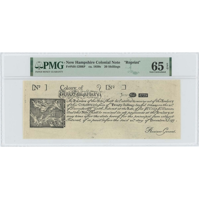 1775 New Hampshire 20 Shilling NH-129 PMG GEM65 EPQ c.1850 Cohen Paul Revere