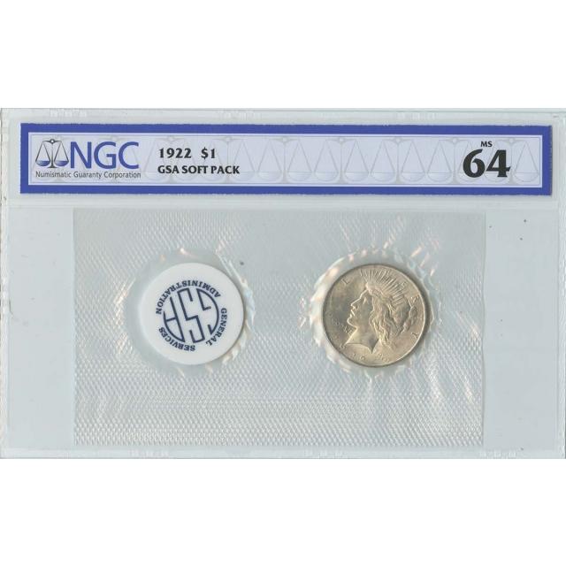 1922 Peace Dollar GSA SOFT PACK S$1 NGC MS64
