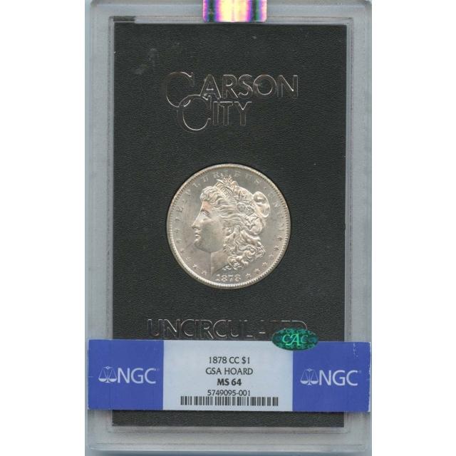 1878-CC Morgan Dollar GSA HOARD S$1 NGC MS64 (CAC)
