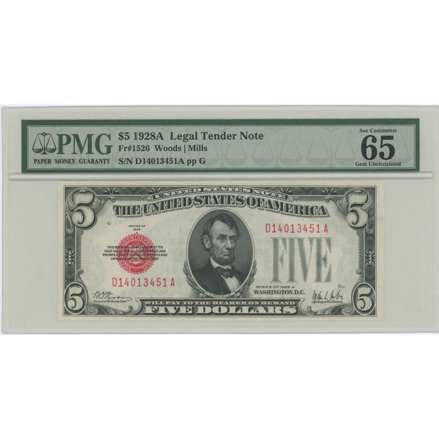 1928A $5 Legal Tender FR#1526 PMG 65 Gem UNC EPQ