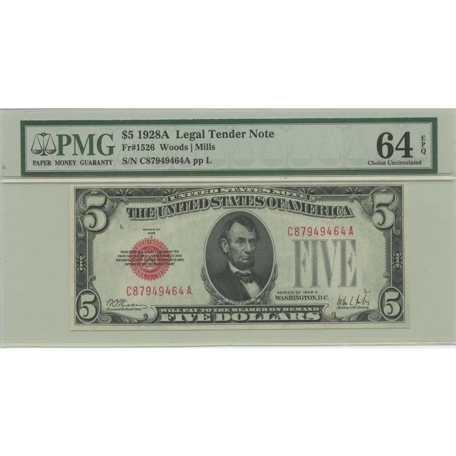 1928A $5 Legal Tender FR#1526 PMG 64 CH UNC EPQ