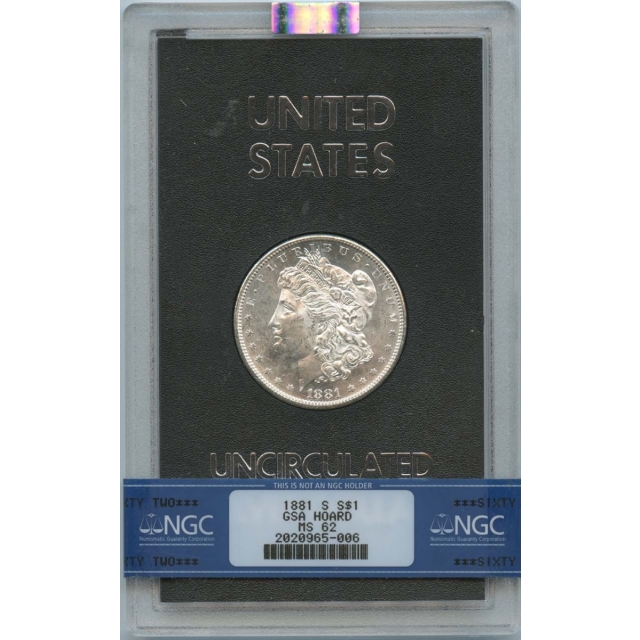 1881-S Morgan Dollar GSA Hoard $1 NGC MS 62