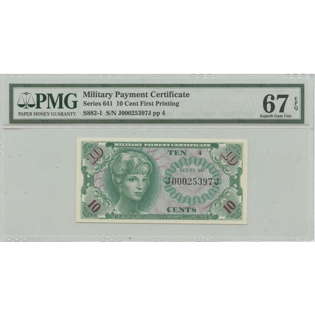 Series 641 10 Cents Military Payment Certificate MPC PMG S.Gem 67 EPQ