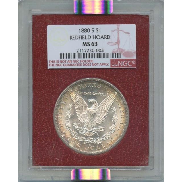 1880 S$1 Morgan Dollar $1Redfield Hoard NGC MS 63