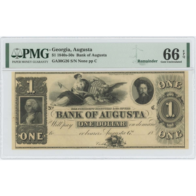1840s-50s $1 Bank Agusta Georgia Obsolete PMG 66 gem EPQ