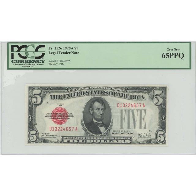 1928A $5 Legal Tender FR#1526 PCGS 65 Gem New PPQ