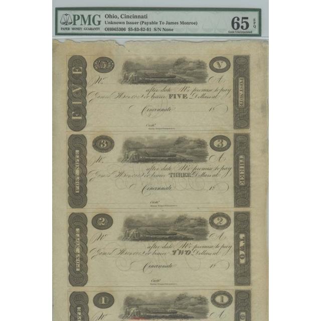 Cincinnati $5-$3-$2-$1 18__  PMG Gem 65 EPQ James Monroe Obsolete Sheet