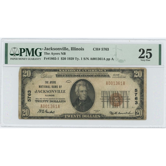 1929 TY 1 $20 Ayers NB Jacksonville Illinois CH#5763 PMG VF 25