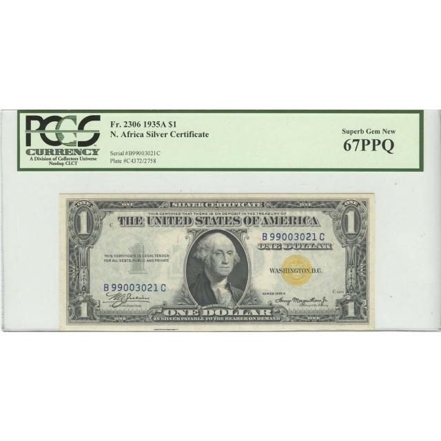 1935A $1 N. Africa PCGS 67 Superb GEM NEW PPQ FR#2306 BC Block