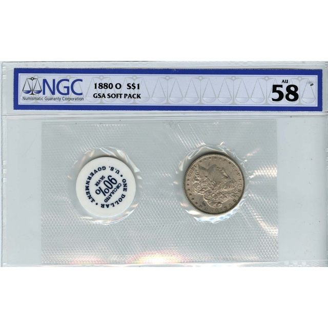 1880-O Morgan Dollar GSA SOFT PACK S$1 NGC AU58