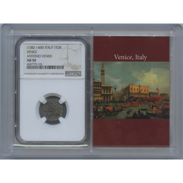 1382-1400 Italy 1Tor Venice Antonio Venier NGC AU50 Story Vault