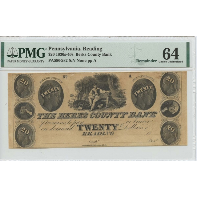 1830s 40s #20 Berks County Bank Reading PA PMG 64 CH Unc Remainder